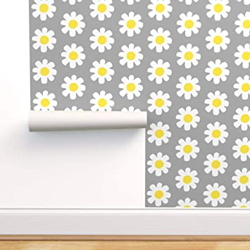 Spoonflower Peel And Stick Removable Wallpaper Daisies Yellow White Floral Pattern Small Calico Print Self Adhesive Wallpaper 12in X 24in Test Swatch Amazon Com