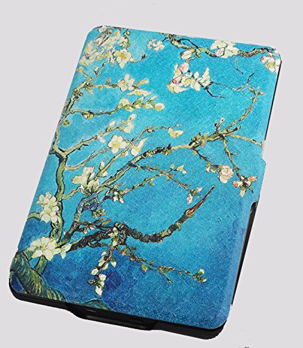 (Kindle Paperwhite 1/2/3 Protective Case - with Vertical Flip Auto Sleep/Wake (Van Gogh Almond Blossom Design))
