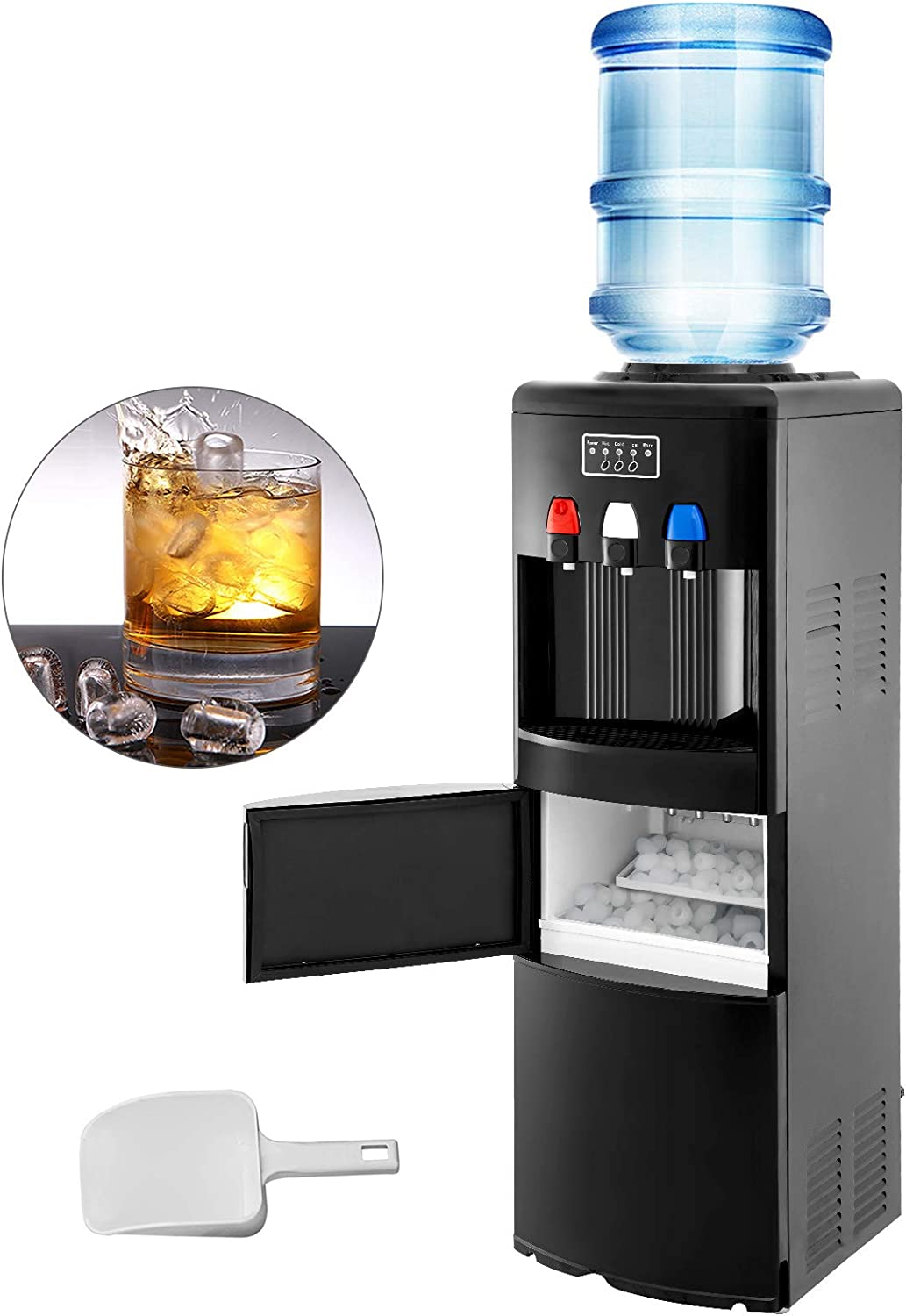 VBENLEM 2 in 1Water Cooler Dispenser with Built in Ice Maker Machine Hot and Cold Top Loading 3 to 5 Gallon Bottle Electric Hot Cold Water Cooler Dispenser Black