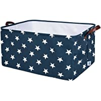 DOKEHOM 22-Inches Thickened X-Large Storage Basket -22x15x13 Inches- Drawstring Canvas Underbed Storage, Square Cotton Linen Collapsible Toy Basket (Blue Star, XL)