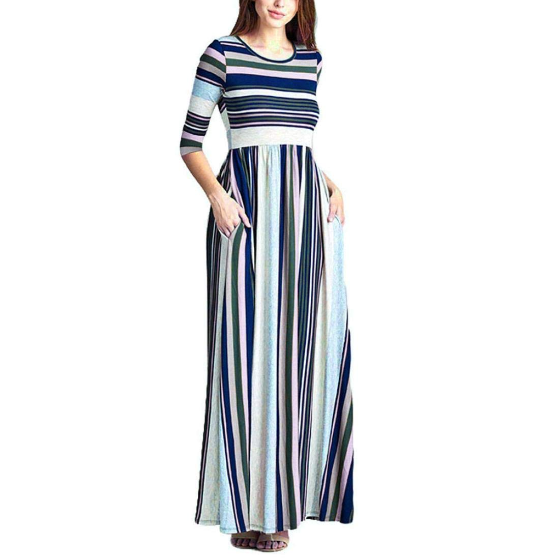 Women Dress,Dainzuy Casual Three Quarter Sleeve Stripe Elastic Waist Pocket Party Dress