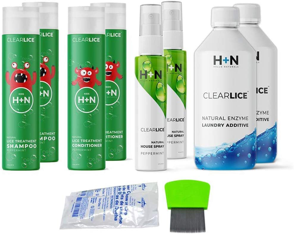 Clearlice Head Lice Natural Treatment Kit Complete Kit to Get Rid of Head Lice from Head and Home - with Laundry Additive Detergent & Furniture Spray Natural Ingredients, Family Size