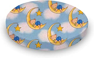 product image for SheetWorld 100% Cotton Flannel Round Crib Sheet, Sleepy Bears Blue, 42 x 42, Made in USA