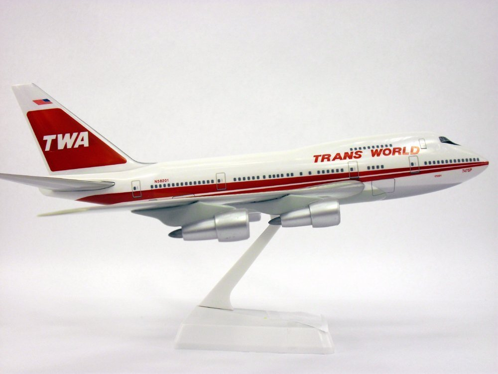 TWA (74-95) Boeing 747SP Airplane Miniature Model Plastic Snap Fit 1:200 Part ABO-747SPH-004 by Flight Miniatures