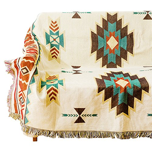 Geometric Fringe (Geometric Plaid Cotton Woven Throw Blanket with Fringes postoral for Couch Armchair Quilted Colorful 51X63 Inches Home, Outdoor, Travel Use)