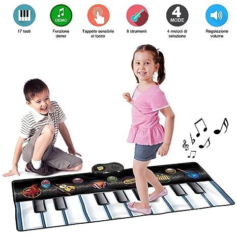 Bakaji Tappeto Tastiera Musicale per Bambini Keyboard Playmat da Pavimento  Con 6 Strumenti e Con Funzione b80e714fac84