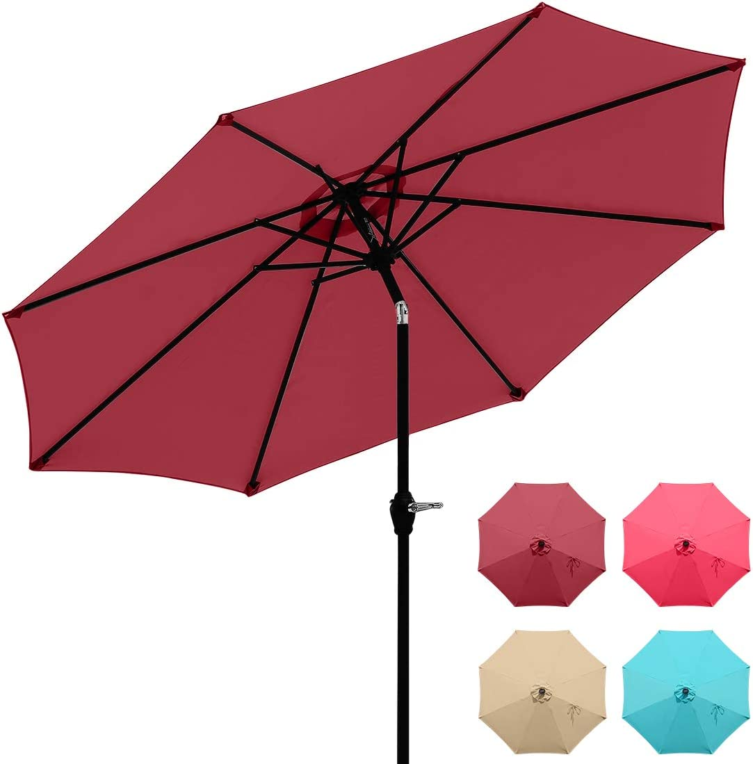 Quictent 9Ft Patio Umbrella 3 Years Non-Fading Outdoor Garden Table Canopy Market Umbrella Deck Pool Backyard with Ventilation Top 8 Ribs 240G Yarn-Dyed Fabric with Push Button Tilt