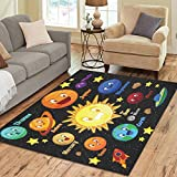 InterestPrint Home Decoration Outer Space Planet Face Emotion Solar System Art Area Rug Cover 7' x 5', Planet Character Carpet Rugs Cover for Home Living Dining Room