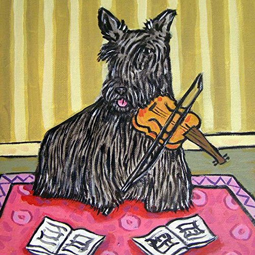 (Scottish Terrier playing Violin dog art tile coaster gift)