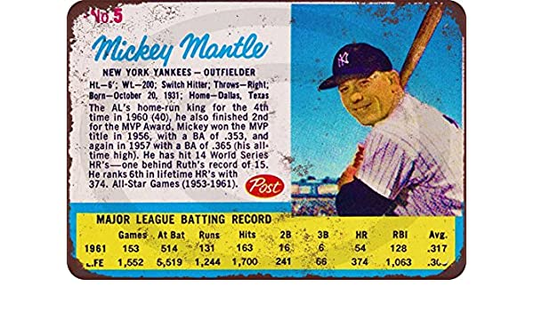 Mickey Mantle For Rawlings baseball glove Reproduction Metal Sign 8 x 12
