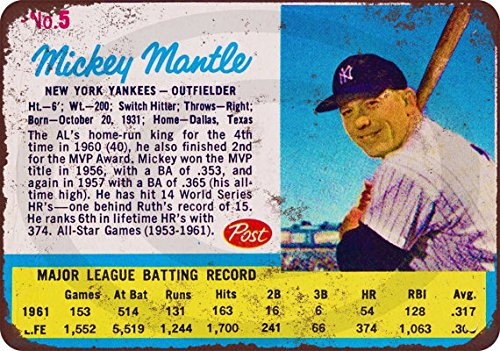 Custom Kraze 1962 Mickey Mantle Post Cereal Card Baseball Reproduction Metal Sign 8 x 12 Vintage Made USA