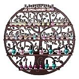 Fanala Wall Mounted 5 Tier Nail Polish Rack Holder Tree Silhouette Round Metal Salon Wall Art Display (Bronze)
