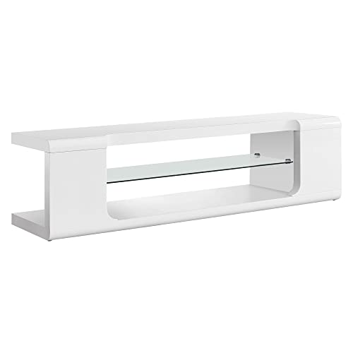 Monarch specialties , TV Console, High Glossy with Tempered Glass, White, 60 L