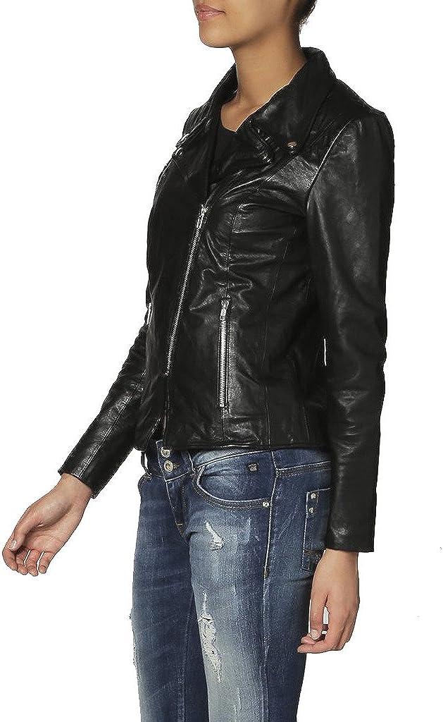 Womens Leather Biker Motorcycle Coat Slim Fit Jackets LTW021