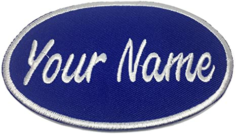 RED USED EMBROIDERED VINTAGE SEW ON NAME PATCH TAG WHITE ON DARK BLUE