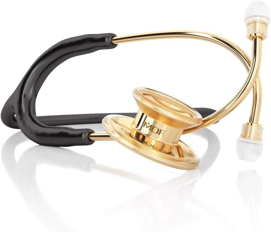 MDF Instruments MD One Premium MDF777-K11, Estetoscopio doble cabeza de acero inoxidable, Oro y Negro