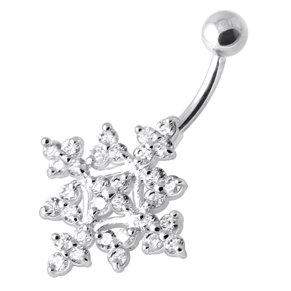 Multi CZ Stone Tribal Elegant Flower Design 925 Sterling Silver Belly Button Piercing Ring Jewelry