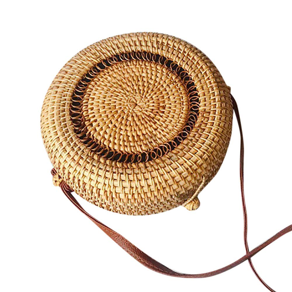 Mnyycxen Women Bohemia Round Crossbody Bag Weave Rattan Shoulder Bag Retro Fashion Summer Beach Handbags