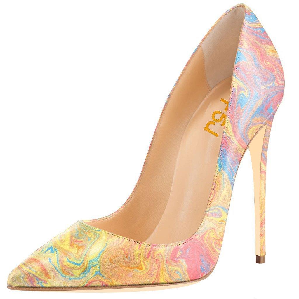 FSJ Women Fashion High Heel Stilettos Pointed Toe Pumps Evening Dress Printed Shoes Size 4-15 US B01CA37610 14 B(M) US|Watercolor