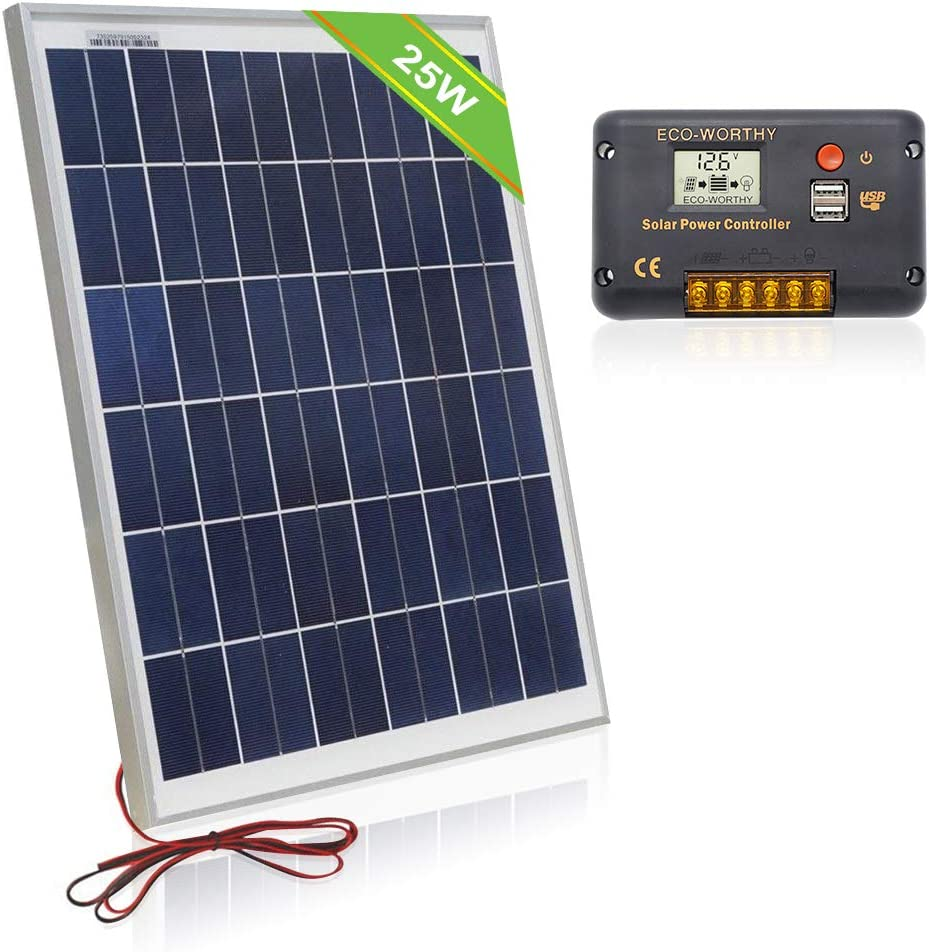 ECO-WORTHY 12 Volt 25W Solar Charging Kit 1pc 25 Watt Polycrystalline Photovoltaic Solar Panel with Cable 20 Amp 12V 24V LCD Solar Charge Controller