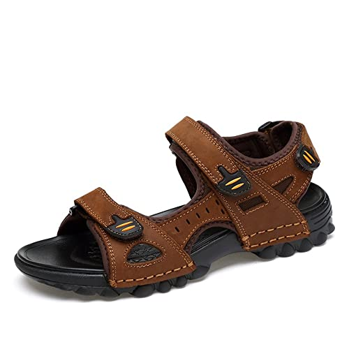 Sandales Marche Homme Cuir ete Trekking Exterieurs Randonnee Bout Ouvert  Glisser sur Chaussures Plage Sandals Respirant daf9b4602b11