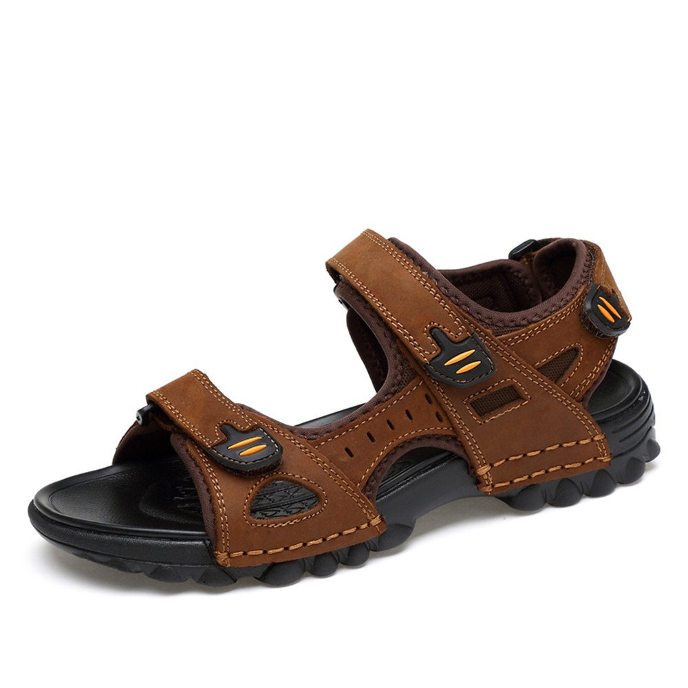 Pamray Sandals Athletic Men Suede Beach Water Shoes Summer Non-Slip Walking Velcro Footwear Lightweight Black Brown US 5.5-12 B07DYHJ59X 12 US Men= 46EU Brown-please take the shoes' size label on The package as standard when you receive Shoes