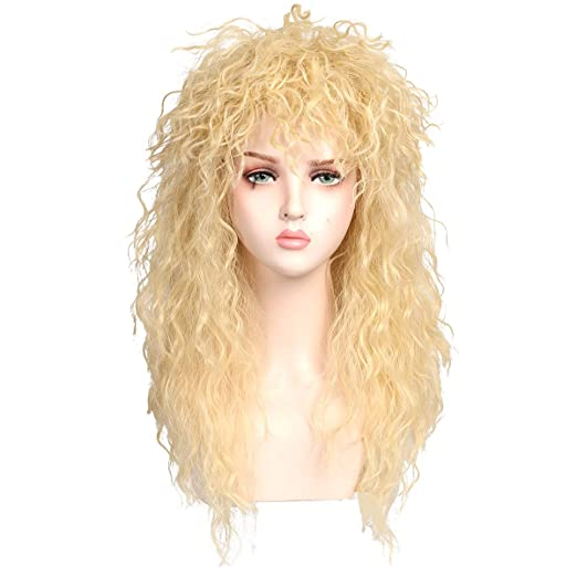 80s Costumes, Outfit Ideas- Girls and Guys ColorGround Long Curly 80s Rocker Mullet Cosplay Wig for Women  AT vintagedancer.com