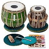 MAHARAJA Tabla Drum Set, 3KG Green Brass Bayan, Finest Dayan with Book, Hammer, Cushions & Cover (PDI-CHB)