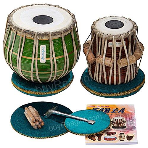 MAHARAJA Tabla Drum Set, 3KG Green Brass Bayan, Finest Dayan