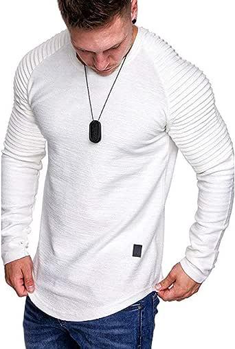 RYTEJFES Sudadera De Hombres para Gimnasio Otoño Invierno Jersey De Manga Larga Color Solido De Hombre Top Camiseta Outwear Blusa con Mangas A Rayas Pullover para Al Aire Libre, Viajes, Trekking: Amazon.es: