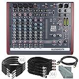 Allen & Heath ZED-10 Multi-Purpose Miniature Mixer and Basic Bundle w/ XLR, 1/4'' TRS, & USB Cables + Fibertique Cloth