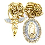 Gold Silver Tone Baby Angel, Virgin Mary Pendant 24',30' Box Chain 2 Necklace Set (Outstretch Wing Angel Set)