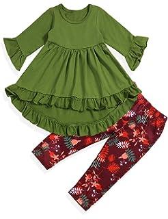 Kehen Kid Toddler Baby Girl Spring Outfit 2pc Long Sleeve Heart Print Shirt Plaid Irregular Mini Skirt