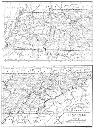 Tn State Map With Counties.Amazon Com Tennessee Tennessee State Map Showing Counties 1910