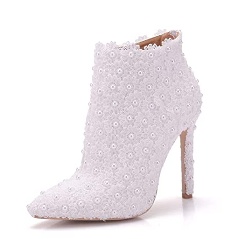 624d7b95eeb0 Image Unavailable. Women s Shoes Lace PU Spring   Fall Sweet Wedding Shoes  Stiletto Heel Pointed Toe Booties
