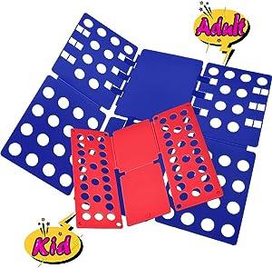 Sealegend T-Shirt Folder Shirt Folding Board Clothes Folder Easy and Fast Flipfold for Kids & Adults (Blue & Red)