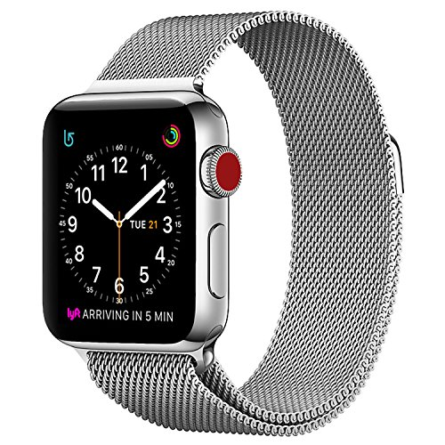 Apple Watch Milanese Band 42mm, SICCIDEN Magnetic Mesh Loop Milanese Stainless Steel Replacement iWatch Band for Apple Watch Series 2, Series 1, Silver