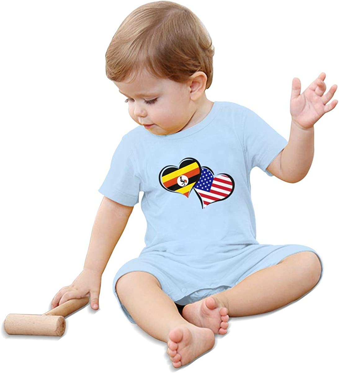 Baby Boy Girl Jumpsuit Uganda American Flag Hearts Love Infant Short Sleeve Romper Jumpsuit
