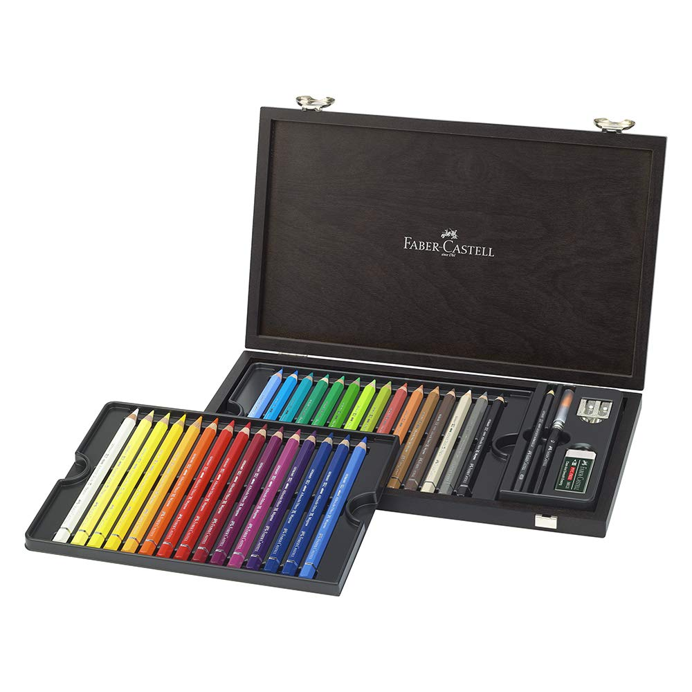 Faber-Castell Albrecht Dürer Magnus Watercolour Pencils, Set Of 30 Different Colours in a Wenge Stained Wooden Gift or Collectors Box With 4 Accessories Including 4B Graphite Aquarelle Jumbo, Double Sharpener, Watercolour Brush and Eraser