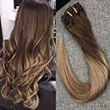 "Full Shine 20"" 7Pcs 100 Gram Per Package Straight Full Head Clip in Ombre Remy Human Hair Extensions Ombre Color #4 Chesnut Brown to Color #27 Honey Blonde Clip in Hair Extension"