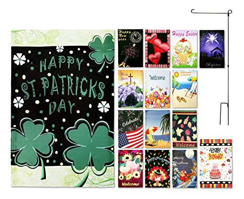 Seasonal Garden Flags for Outdoors, One for Each Month, Monthly Garden Flag Set of 15 with Metal Flag Pole, Double Sided 12 x 18 In - Great Garden Decor, Decorative Flags for Outside by Green Gardien