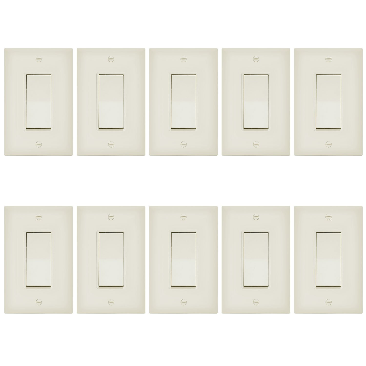 Enerlites 3-Way On/Off Paddle Light Switch with Covers 93150-LA | 15A, 120V/277VAC, Rocker, Single Pole, 3 Wire, Grounding Screw, Residential/Commercial Wall Switch, UL Listed | Light Almond - 10 Pack