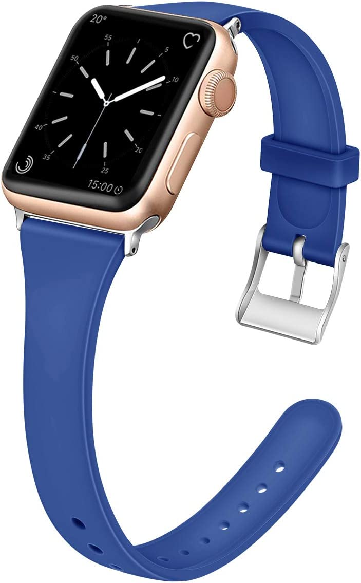 EXCHAR Slim Rubber Bands Compatible with Apple Watch Band 38mm 40mm Soft Silicone Replacement Band Women Unique Thin Wrist Strap for iWatch Series 4 3 2 1 S/M Blue