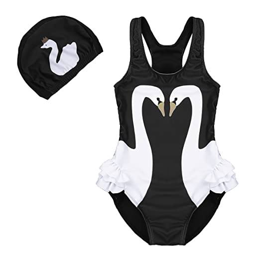 0b527945bd3ae Amazon.com: iiniim Kids Toddler Girls One Piece 3D Swan Flamingo Swimsuit  Ruffle Bikini Swimwear Bathing Suit with Swim Cap: Clothing