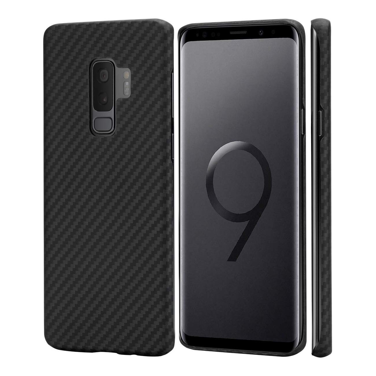 ART ELECTS Carbon Fiber Phone case for S9 Plus, fit Sturdy Durable Case Protective Snap-on Scratch Resistant Back Cover for S9+ - Black