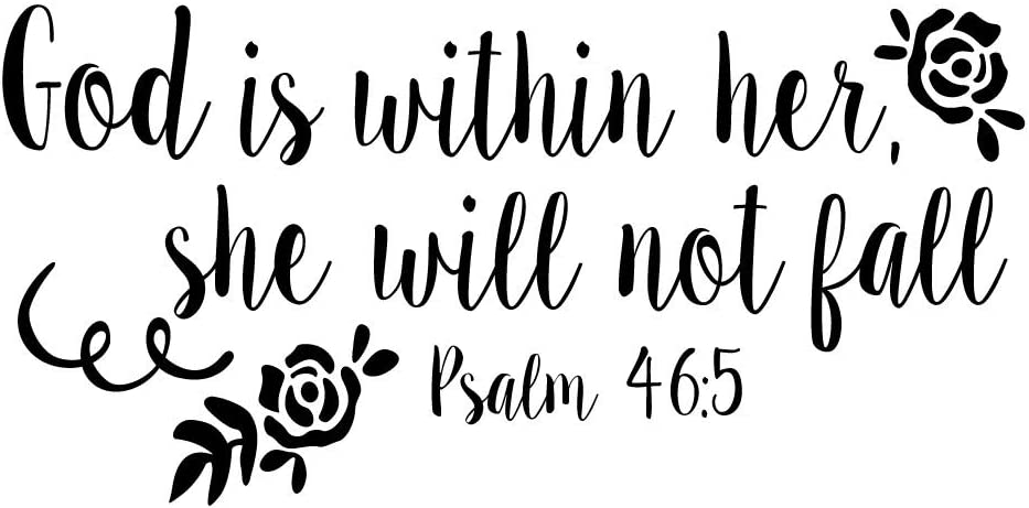 KYSUN God is Within Her She Will Not Fall Psalm 46:5 Vinyl Decal Religious Wall Art Christian Bible Verse Quotes Girls Bedroom Décor