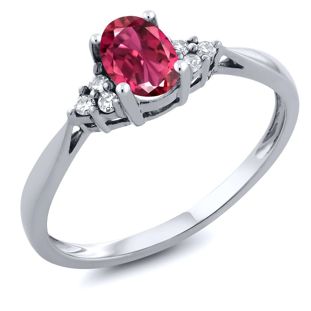 Gem Stone King 14K White Gold Pink Tourmaline and Diamond Women's Ring 0.56 cttw (Size 8)