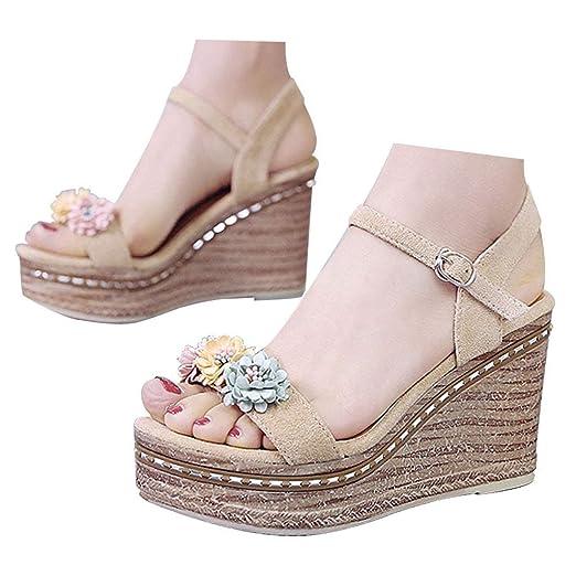 e7be090d7dd Amazon.com: Veodhekai Womens High Heel Wedge Sandals Flowers ...