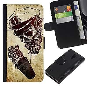 iBinBang / Flip Funda de Cuero Case Cover - Marinero Marinero Borracho Muerte - Samsung Galaxy S4 IV I9500