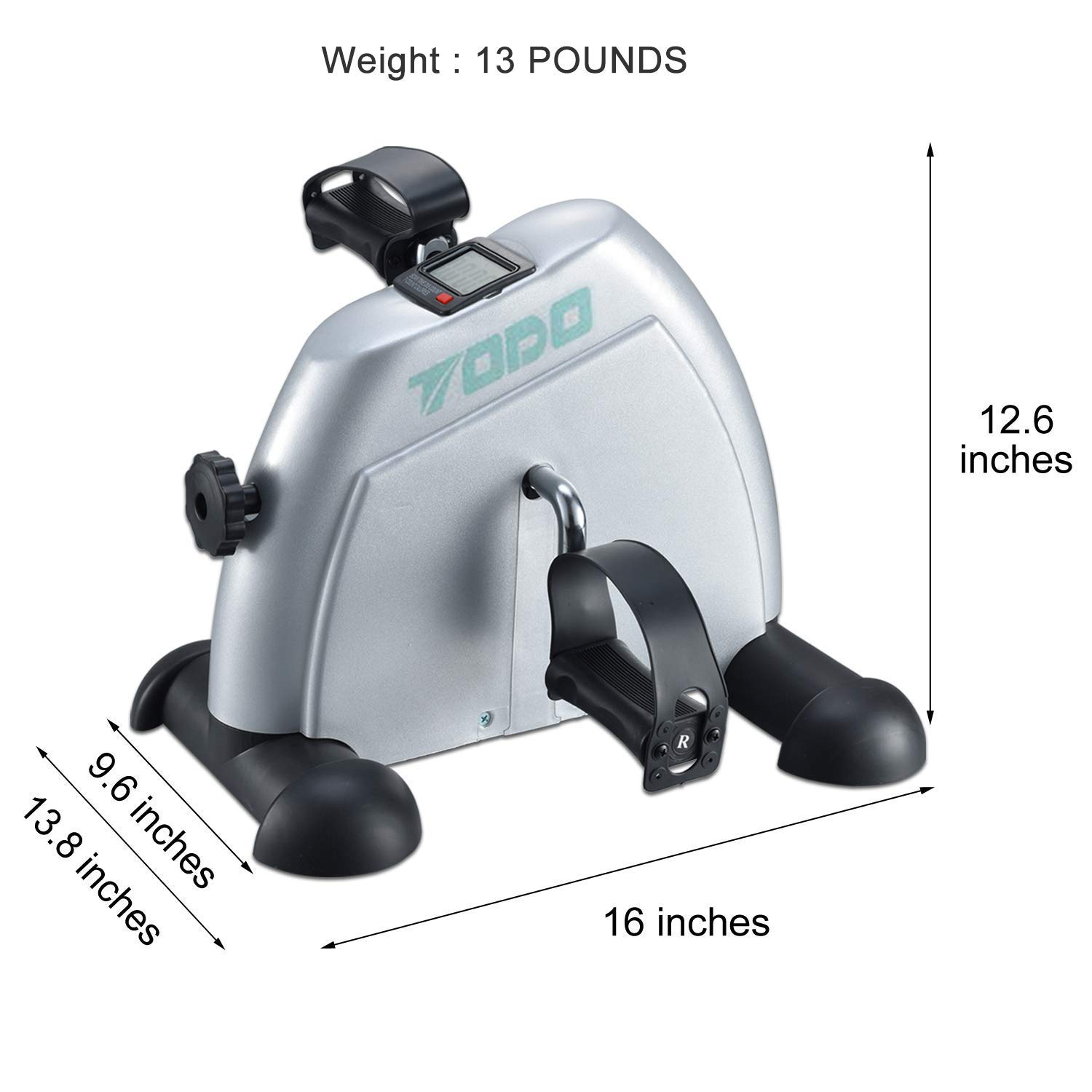 TODO Exercise Bike Pedal Exerciser Foot Peddler Portable Therapy Bicycle with Digital Monitor